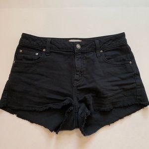 Aritzia Sunday Best Raw Hem Black Denim Shorts 28